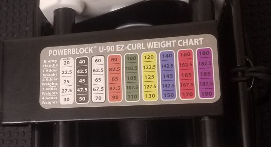 PowerBlock EZ Curl Bar Weight Chart