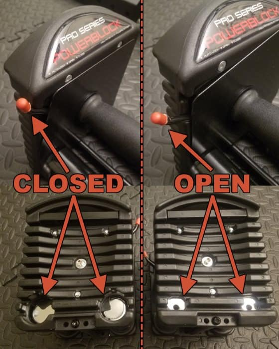 PowerBlock Pro EXP Handles - Open vs Closed Autolock Lever Postion