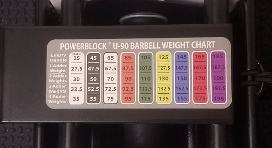 PowerBlock Straight Bar Weight Chart