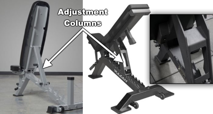 Adjustment Columns on Ladder Style Adjustable Weight Benches