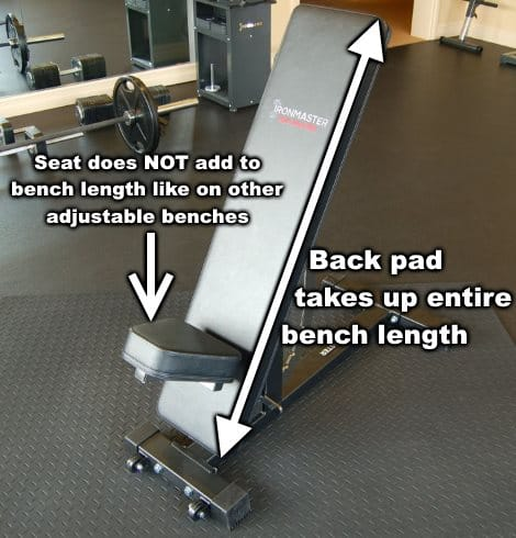Ironmaster Super Bench Pro Seat Does Not Contribute to Bench Length
