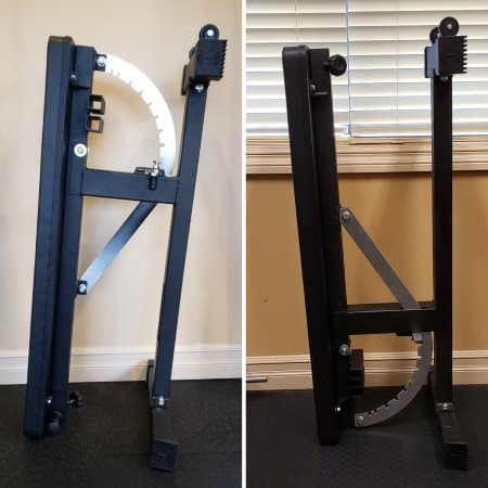Storing the Ironmaster Super Bench Pro Upright - Works Regardless of Which End the Wheels Are Installed On
