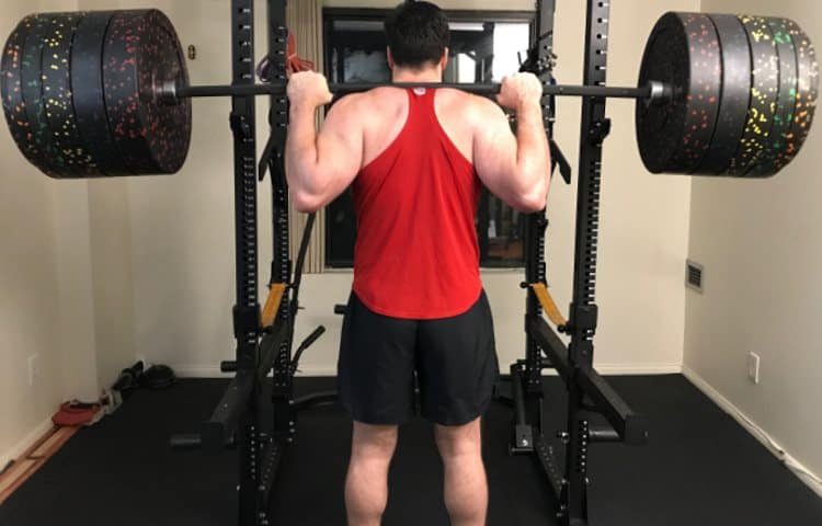 Unracking the Vulcan Absolute Power Bar with 415 lbs of Bumper Plates