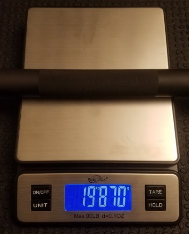 Accuracy of Bar Weight for Vulcan Absolute Power Bar - 19.87kg