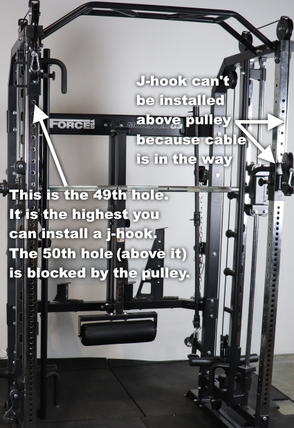 Where You Can Install the J-hooks Relative to the Pulleys on the Monster G3
