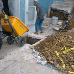 Concrete pouring in action