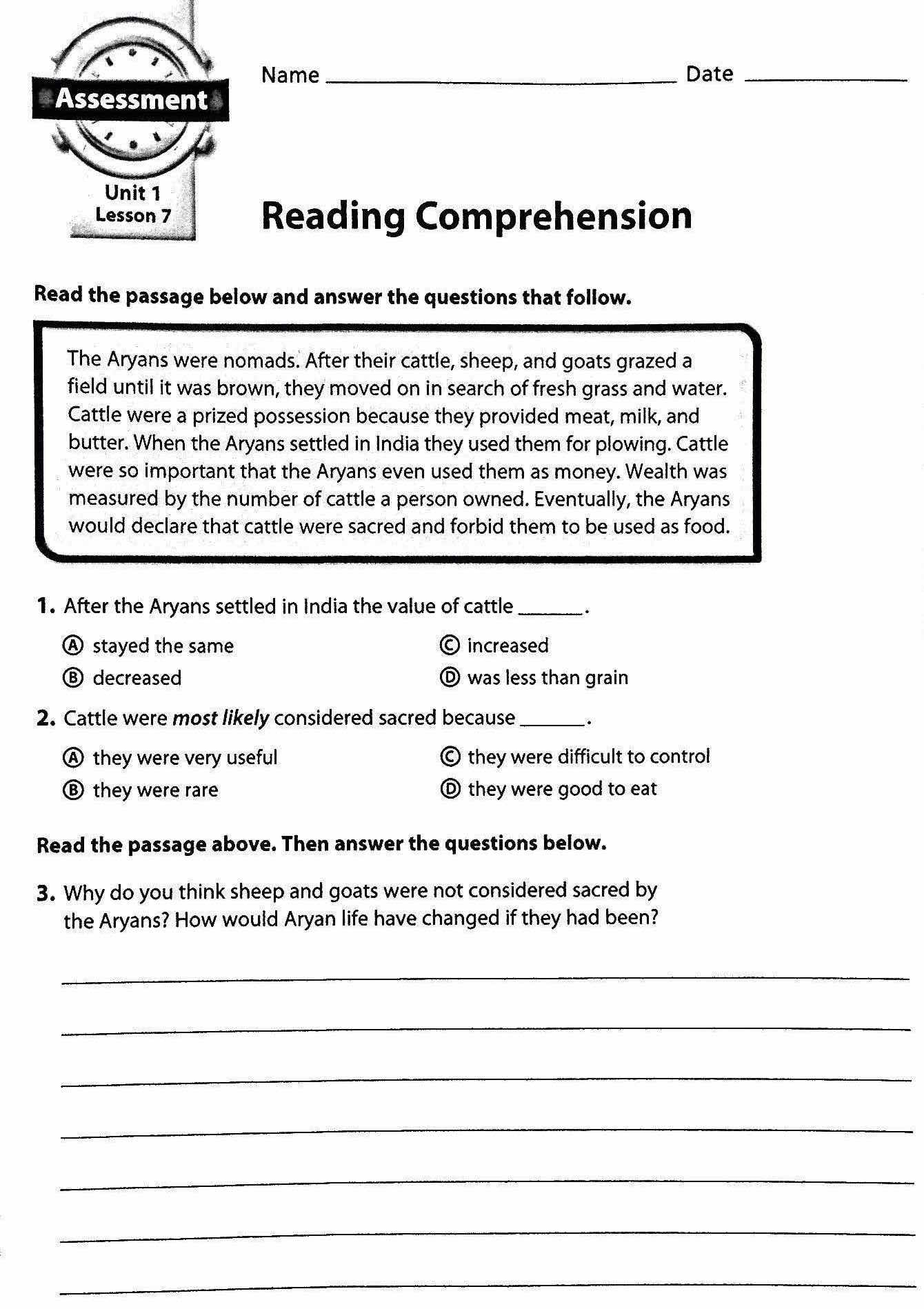 Worksheet Free Printable 6th Grade Reading Comprehension