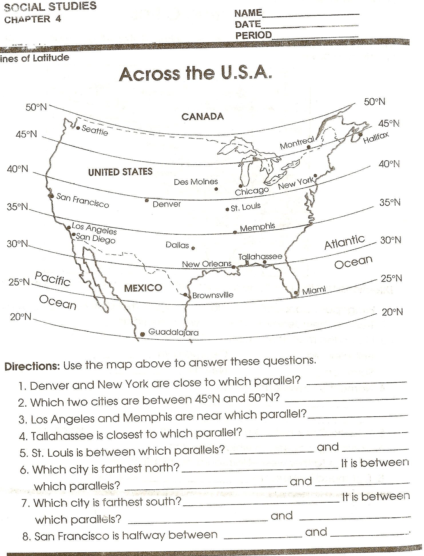 Across The Usa Mapping Skill Sheet