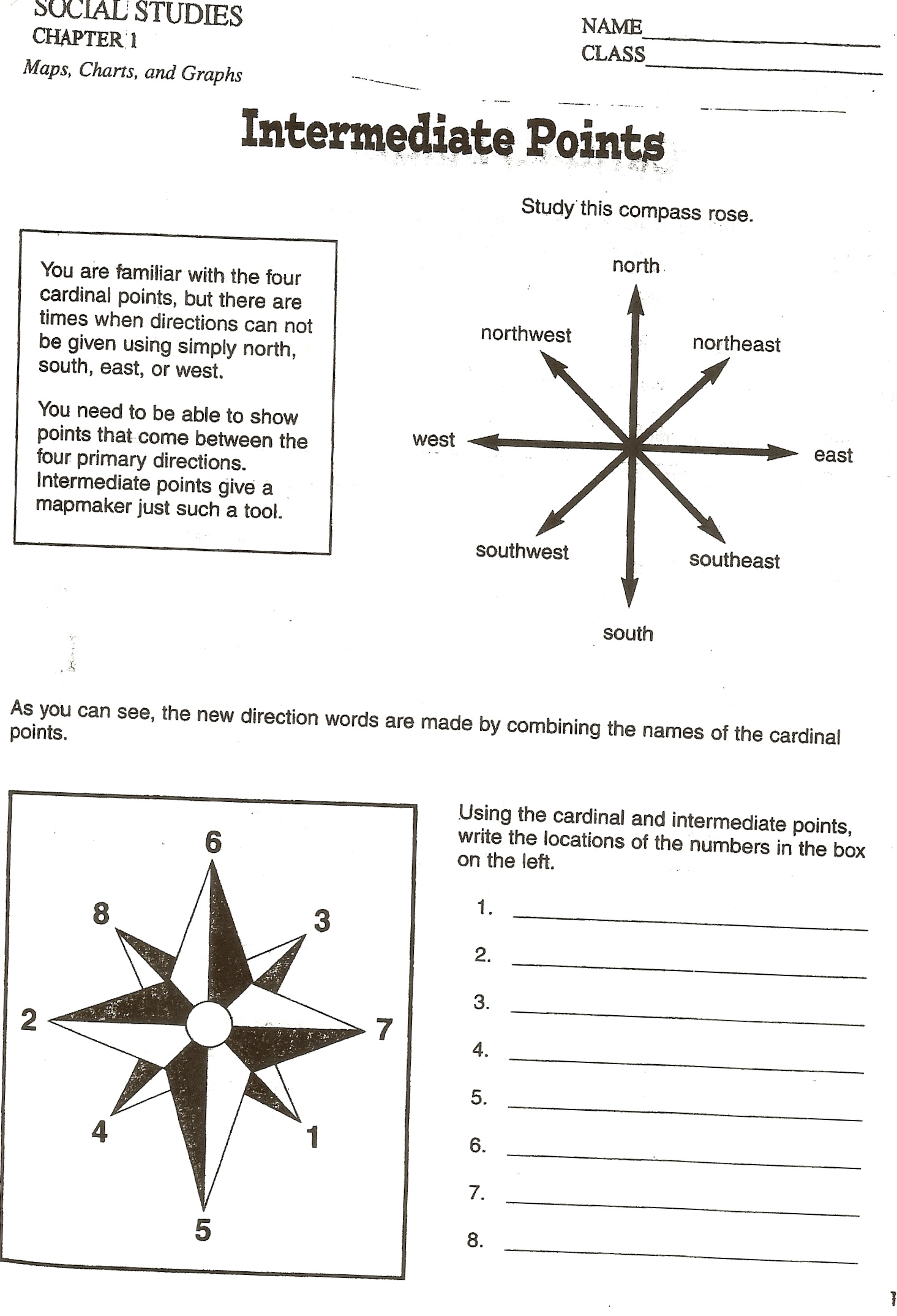 Cardinal Directions Worksheet Grade 3