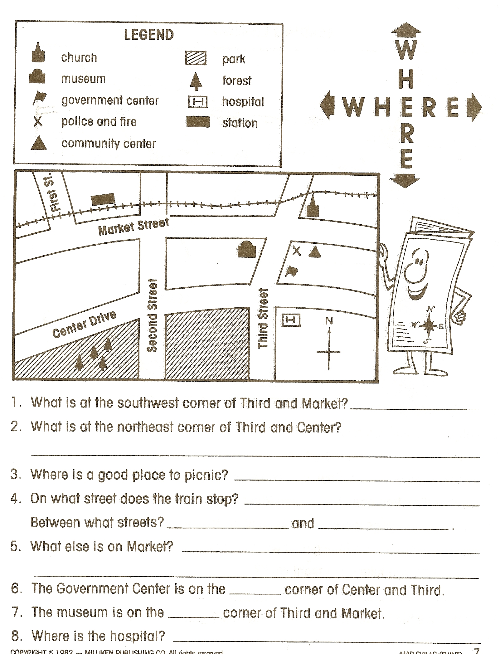 Map Skills Worksheets For 3rd Grade