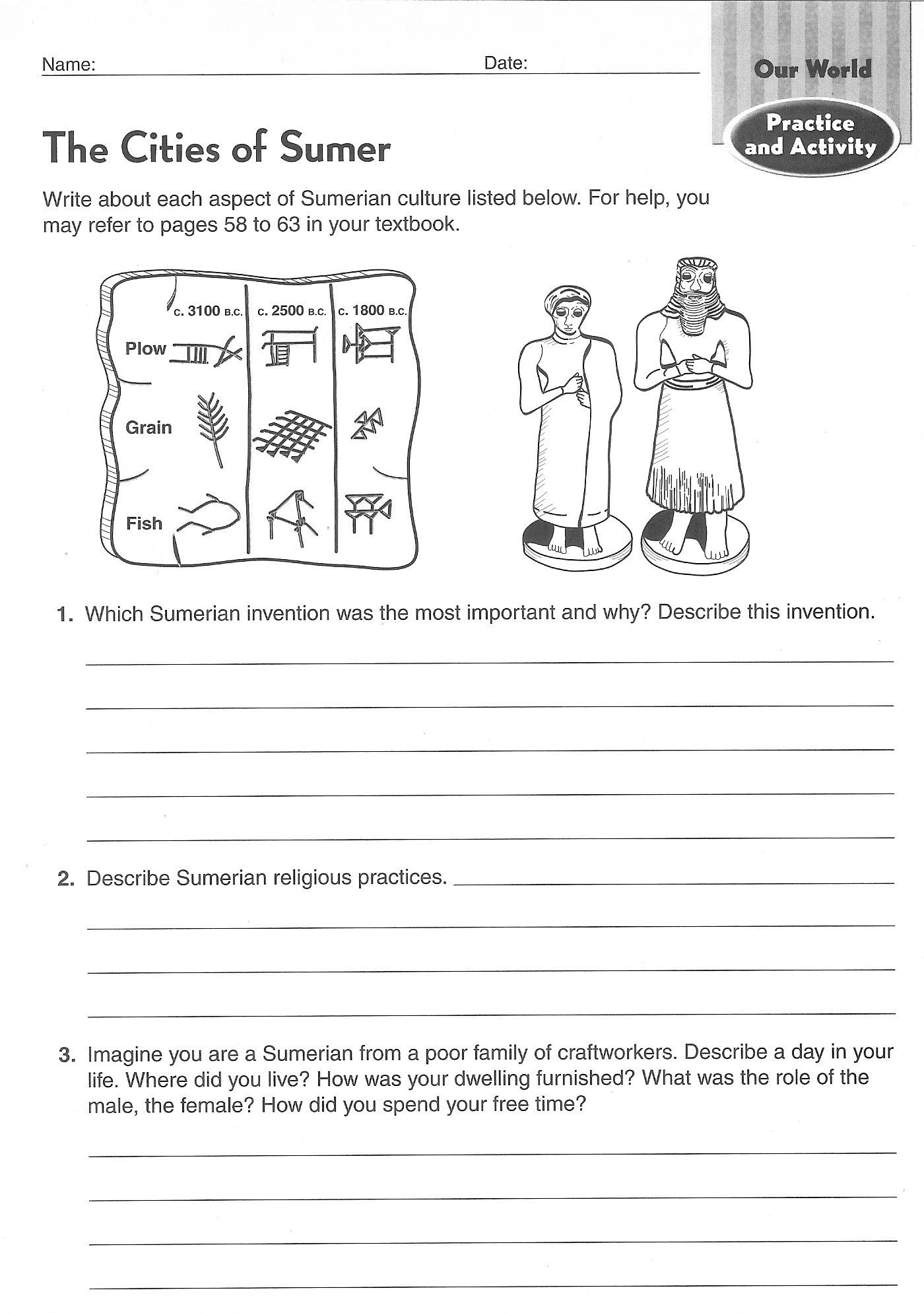 Printable Ancient Egypt 6th Grade Reading Worksheet