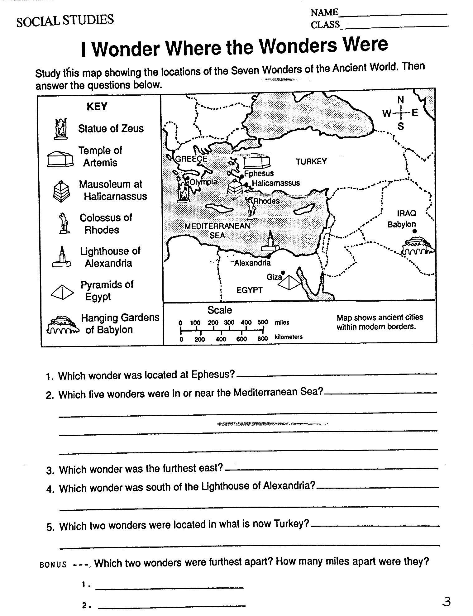 Worksheet For 4th Grade History