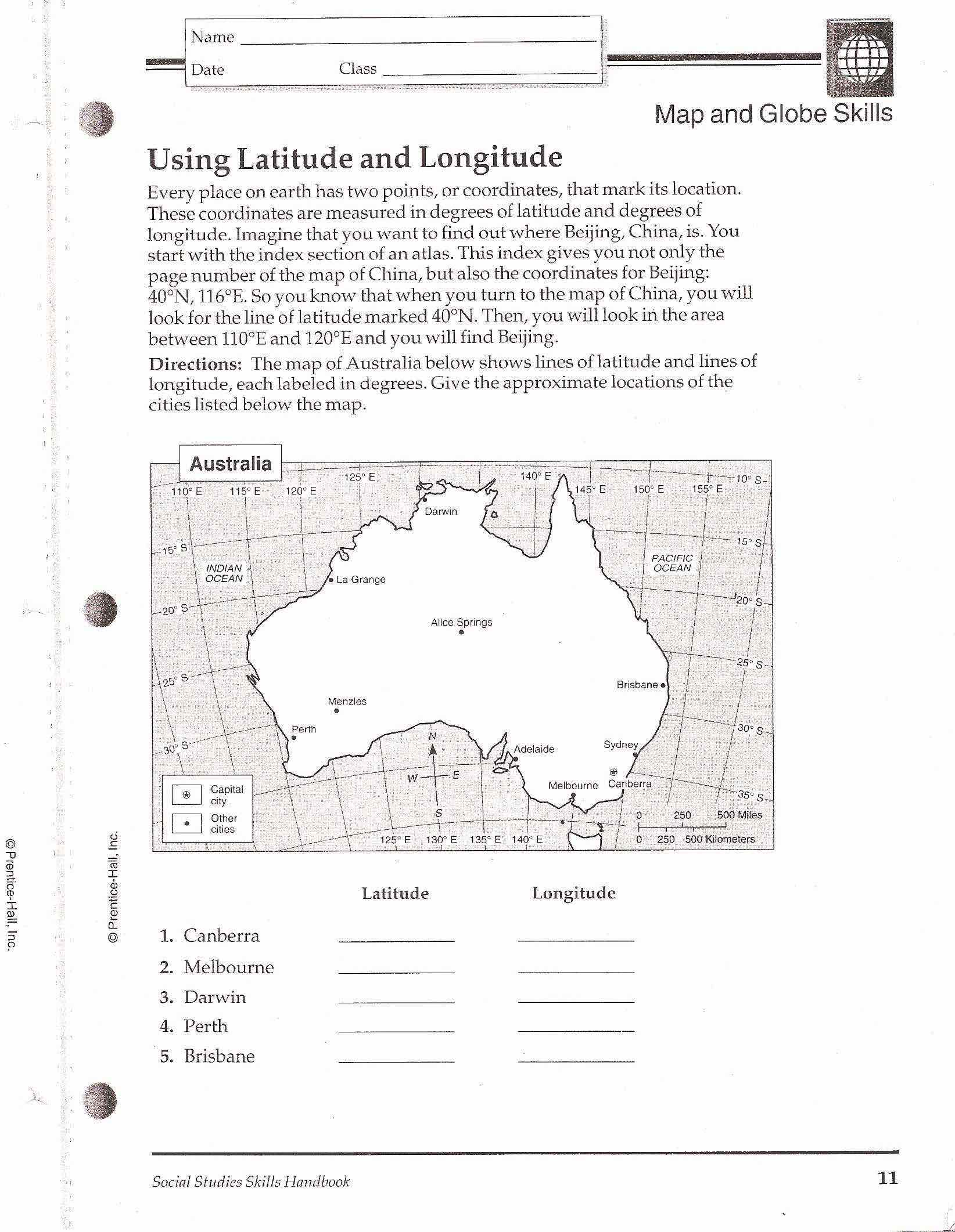 World Map Worksheet Answers
