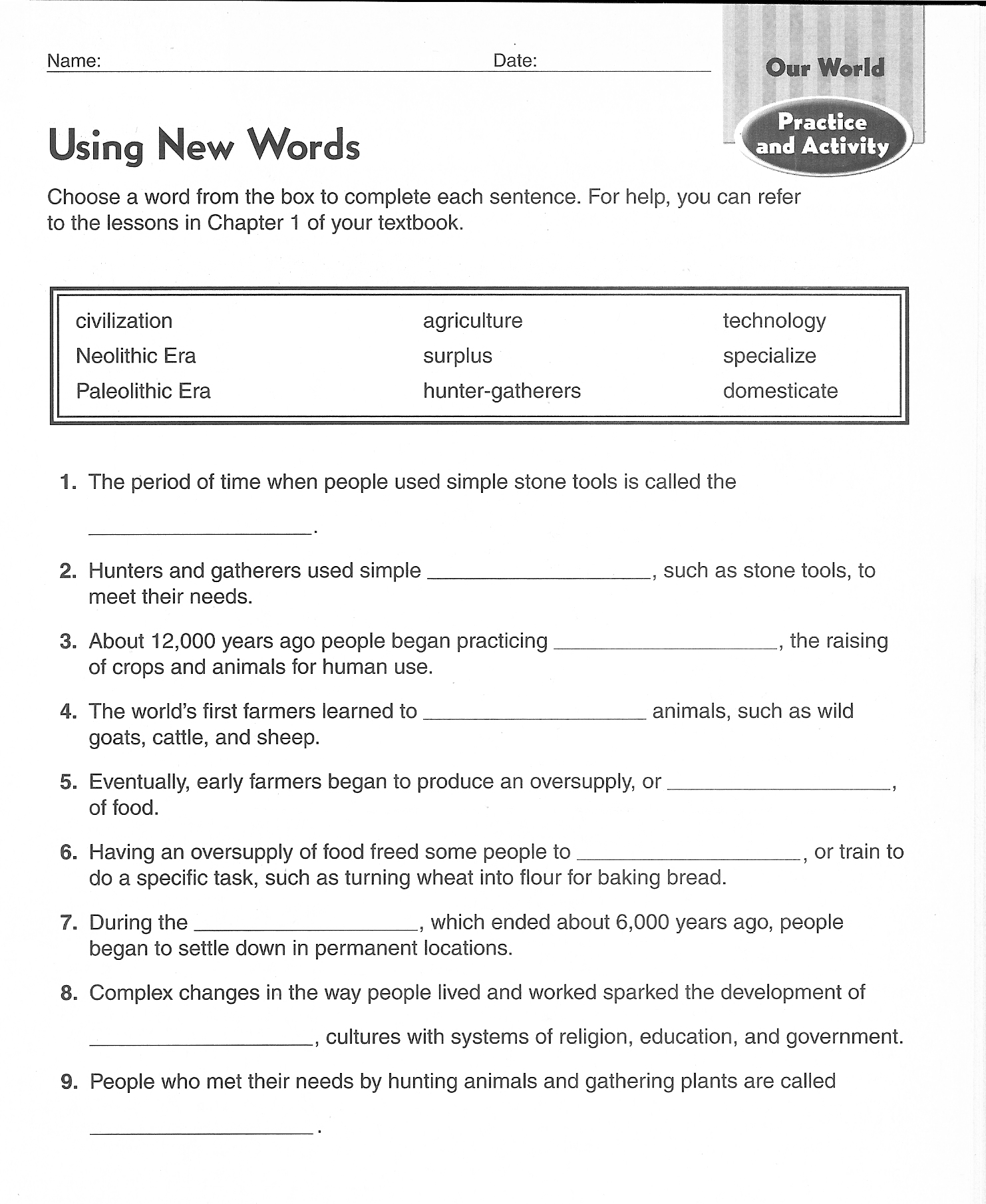 Harcourt Geography Worksheet