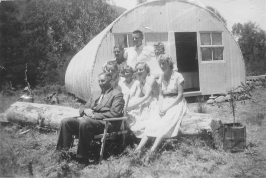 Old Nissen Hut Stewart Jackel back row RH end
