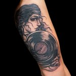 Vinyl Girl Head Tattoo by Justin Weatherholtz