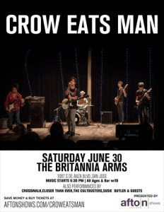 Crow Eats Man @ Britannia Arms Cupertino – Sat 6/30