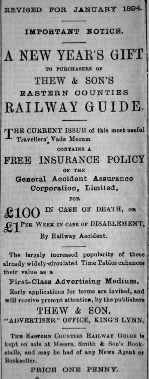 1894 Jan 13th Thew & Son (Railway Guide)