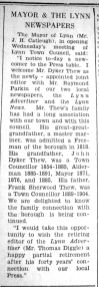 1941 June 13th Dyker Thew becomes joint editor Lynn Advertiser