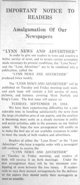 1944 Sept 15th Lynn Advertiser & Lynn News combine