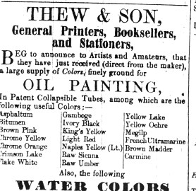 1852 July 3rd Thew & Son (artists materials)