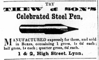 1860 April 28th Thew & Sons (steel pens)