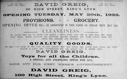 1922 Mar 19th David Greig opening