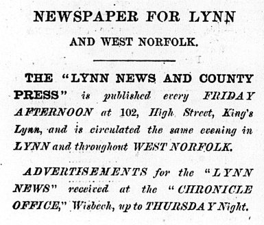 1869 Jan 16th Lynn News