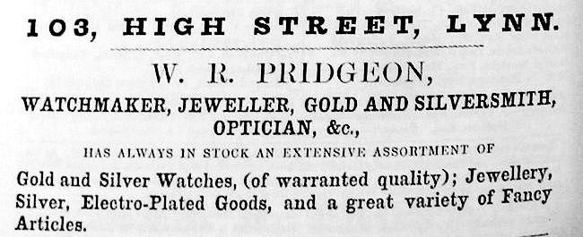 1856 Directory W R Pridgeon