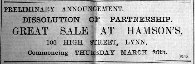 1903 Mar 20th Hamson dissolution of partnership
