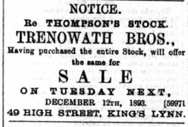 1893 December 9th Trenowaths sell Thompsons stock @ No 49 large