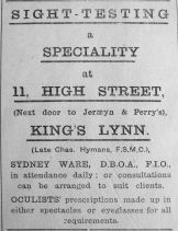 1919 Aug 29th Sydney Ware suceeds Hymans