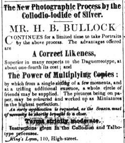 1852 Sept 25th H B Bullock