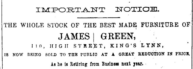 1886 Jan 2nd James Green retiring 110