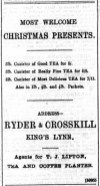 1893 December 9th Ryder & Crosskill sell Liptons Teas @ No 87