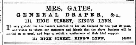1895 August 3rd Mrs Gates succeeds husband @ No 111