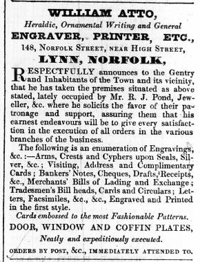 1843 Nov 7th Wm Atto moves to Norfolk Street