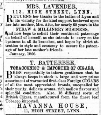 1866 Jan 27th Mrs Lavender succeeds Mrs Atto @ No 113