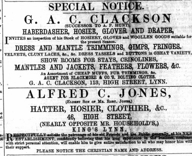 1867 30th November Clackson @ No 113