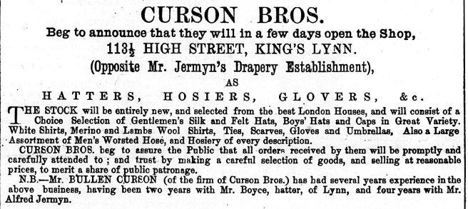 1880 23rd October Curson Bros