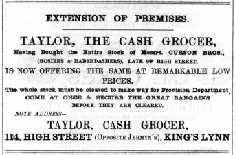 1888 October 6th Taylor the cash grocer @ No 114
