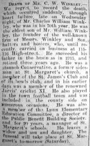 1927 Nov 11th obit Charles William Winkley