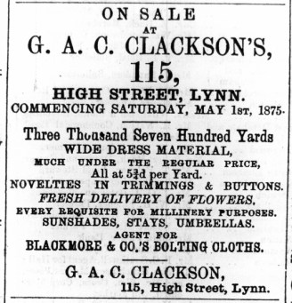 1875 May 1st G A Clackson @ 115