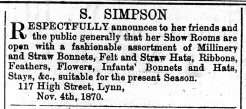 1870 Nov 19th S Simpson @ No 117