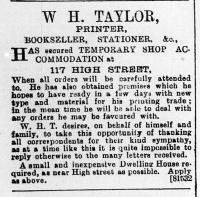 1897 Dec 31st W H Taylor No 108 to No 117