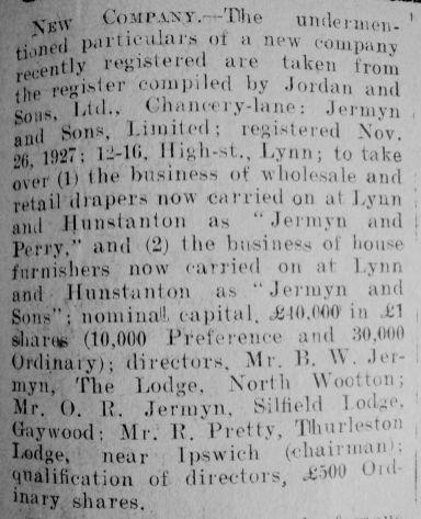 1927 Dec 2nd Jermyn & Sons Ltd formed