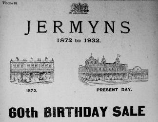 1932 Oct 7th Jermyns 1872 to 1932 a