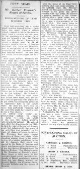 1935 Oct 4th Herbert Freeman 50yrs @ Jermyns 1