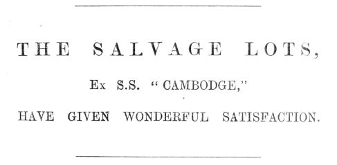 1891 Feb 14th salvage from S S Camboge Jermyn & Perry