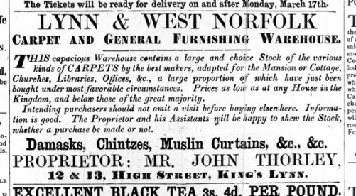 1862 March 15th John Thorley @ Nos 12 & 13